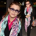 Carrie Fisher Steps Out in Dublin in Colorful Scarf