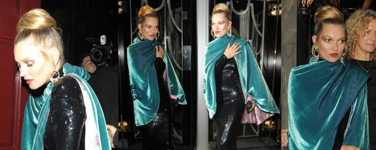 Kate Moss Goes 70s Glam in Vintage Velvet and Sequins