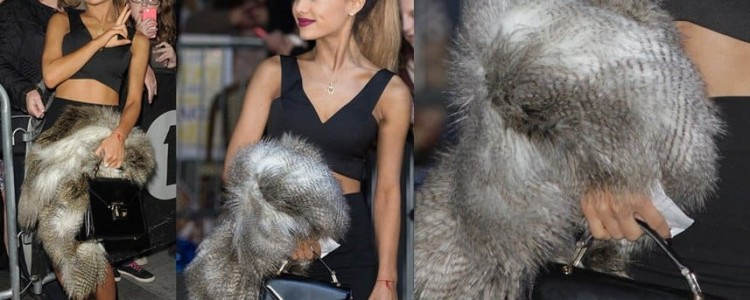 Ariana Grande in Sexy Black Outfit and Fur Topper for BBC Radio 1 Appearance