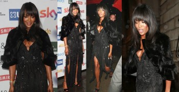 Naomi Campbell Flaunts Cleavage in Fur Cape and Split-Front Dress