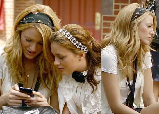 Blake Lively as Serena Van Der Woodsen wears a headscarf in Gossip Girl Season 2