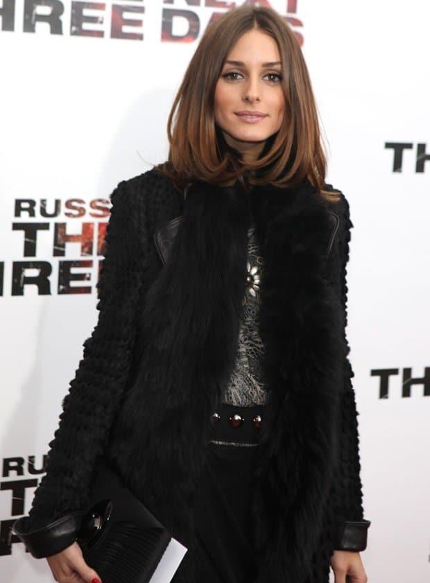 Olivia Palermo wearing a fur scarf