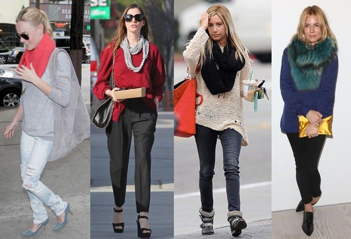 Celebrities show how to wear an infinity scarf