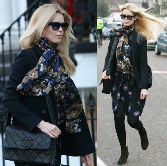 Claudia Schiffer wearing a scarf after dropping her daughter off at school London on January 19, 2011
