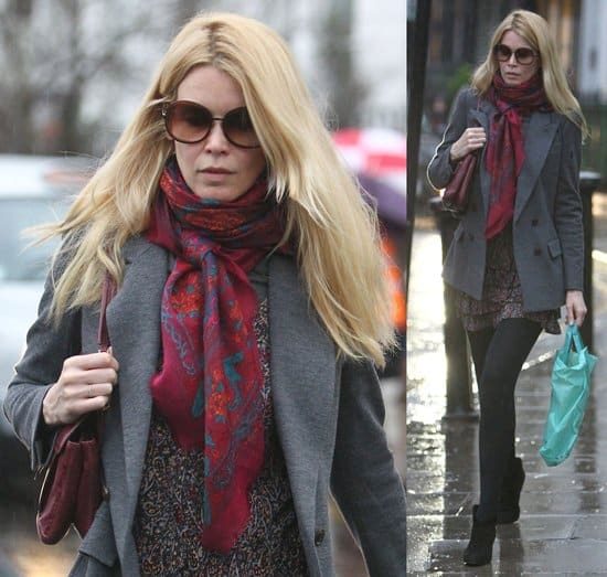 Claudia Schiffer drops her daughter off at school in London on January 17, 2011