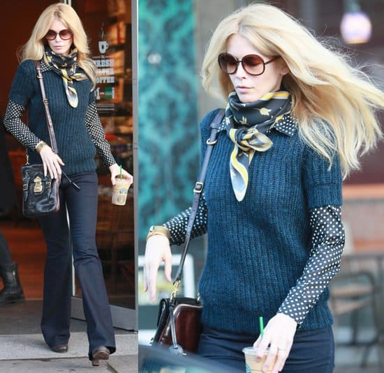 Claudia Schiffer leaving Starbucks after dropping her daughter off at school on January 18, 2011