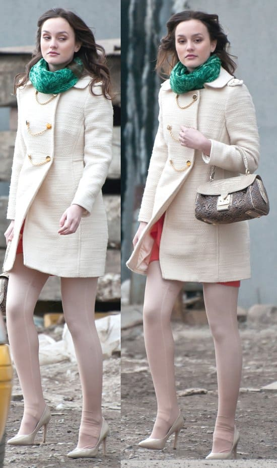 Leighton Meester shooting'Gossip Girl' in Greenpoint, Brooklyn, New York City, on February 24, 2011