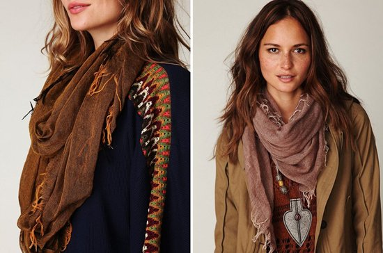 Free People Eddy Raggy Sheer Scarf in Mustard and Brown