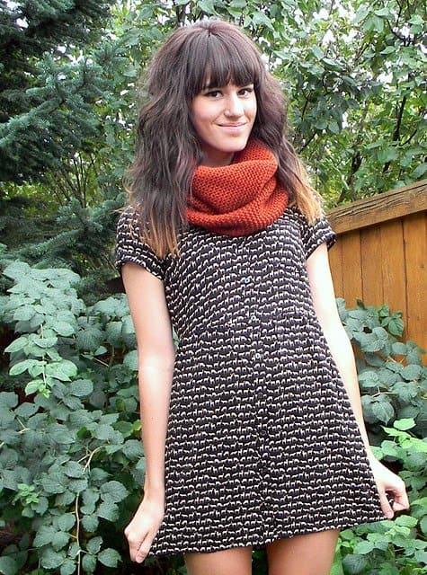 The Moptop's Tonya Smith fashioning a scarf