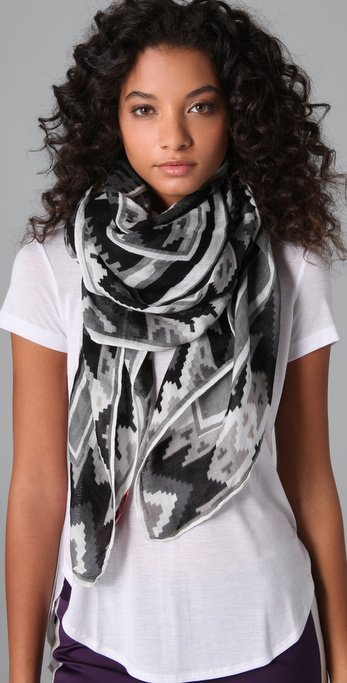 Theodora & Callum Geometric Scarf in Black Multi