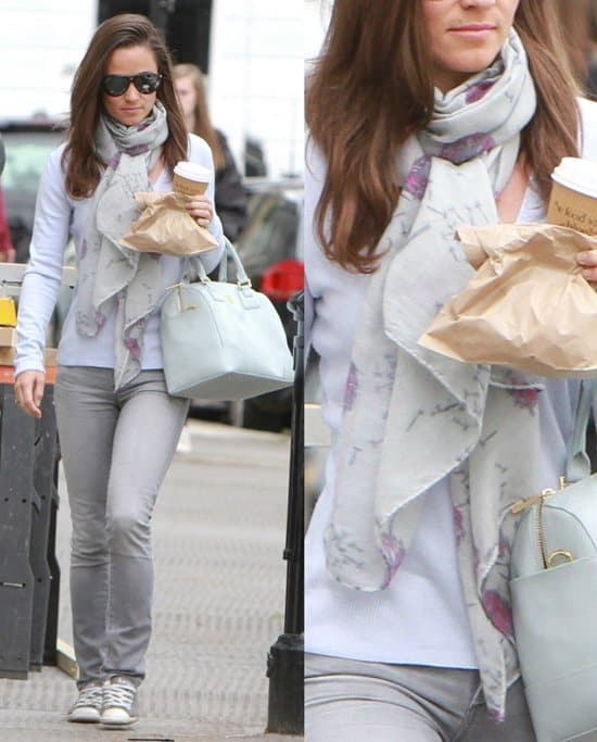 Pippa Middleton with a coffee on the Kings Road in Chelsea