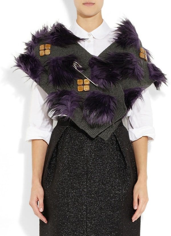Faux fur and crystal-embellished wool-blend
