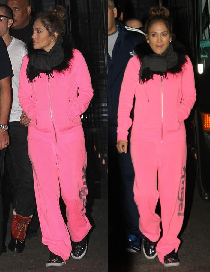 Jennifer Lopez in a pink tracksuit and scarf after her concert in Munich on October 25, 2012