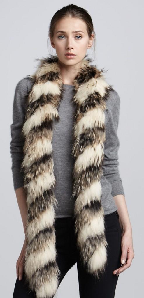 Adrienne Landau Extra Long Twisted Raccoon Fur Scarf
