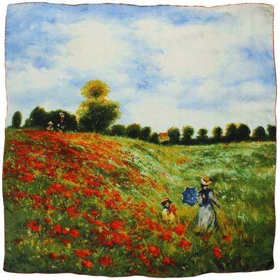 Claude Monet's Poppy Field in Argenteuil Printed Silk Scarf