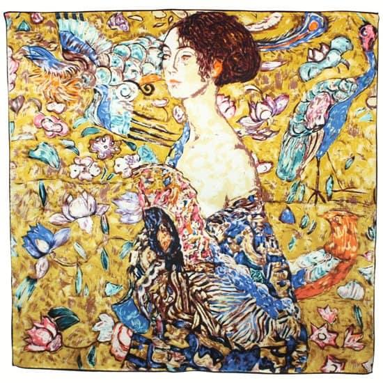 Gustav Klimt's Donna Con Ventaglio Printed Silk Scarf