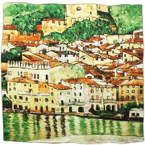 Gustav Klimt's Malcesine on Lake Garda Printed Silk Scarf