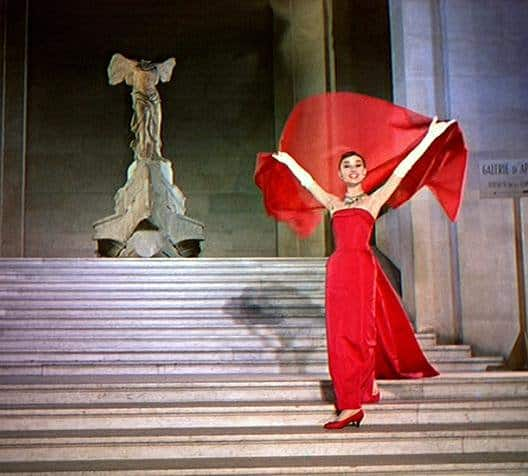 Audrey Hepburn fabulous in front of the Nike Victory of Samothrace in the film, Funny Face