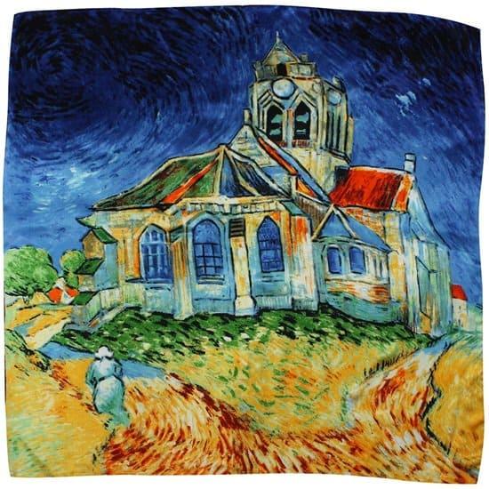 Van Gogh's Church at Auvers Printed Silk Scarf