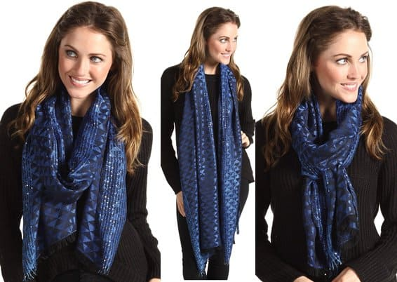 Echo Design Triangle Jacquard Scarf with Sequins