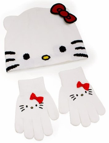 Hello Kitty Beanie Glove Set
