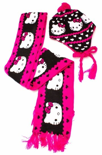 Hello Kitty Scarf and Beanie Set