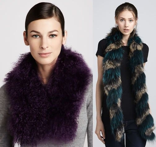 Trilogy Tibetan Lamb Fur Scarf in Purple / Adrienne Landau Twisted Raccoon in Teal