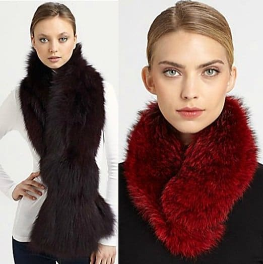 Adrienne Landau Silver Fox Fur Stole in Natural / Sherry Cassin Classic Fur Clip Collar in Red