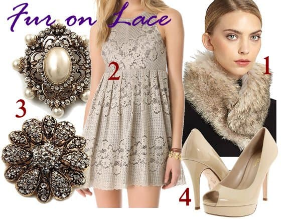 fur on lace outfit