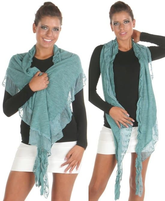Angelina Lace and Ruffle Trimmed Scarf
