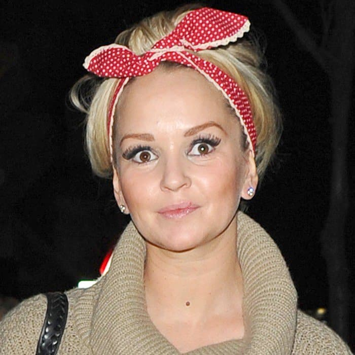 Jennifer Ellison wears rockabilly head scarf with a poncho