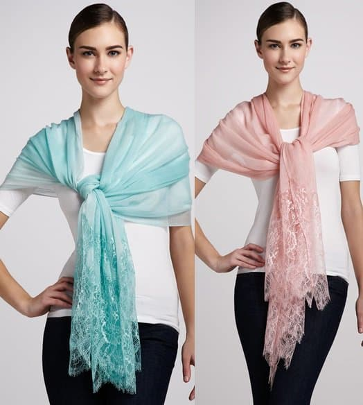 Valentino Lace Inset Shawl in Aqua / Valentino Lace Inset Shawl in Rose Pink