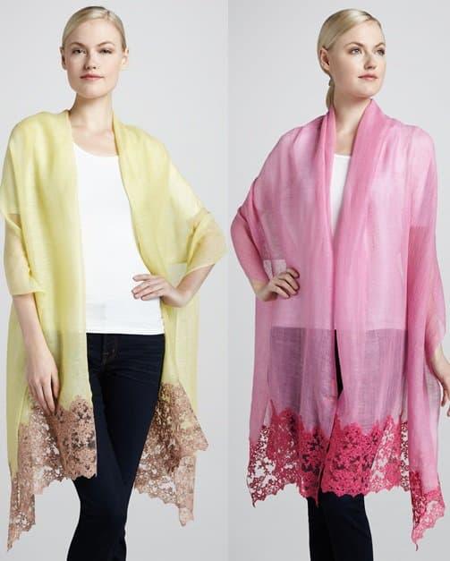 Valentino Lace Inset Shawl in Citrine / Valentino Lace Inset Shawl in Pink