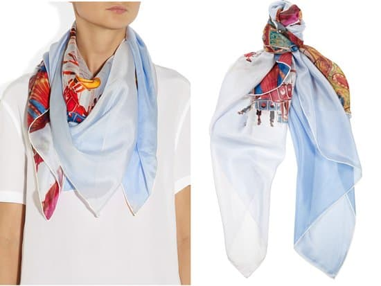 TEMPS DES RÊVES_Santa Cruz printed silk-chiffon scarf_styled