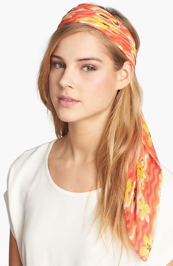 nordstrom pleated floral scarf