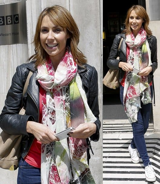 Alex Jones leaves the BBC Radio 2 Studios while looking chic in a multicolored scarf and leather jacket, June 25, 2013