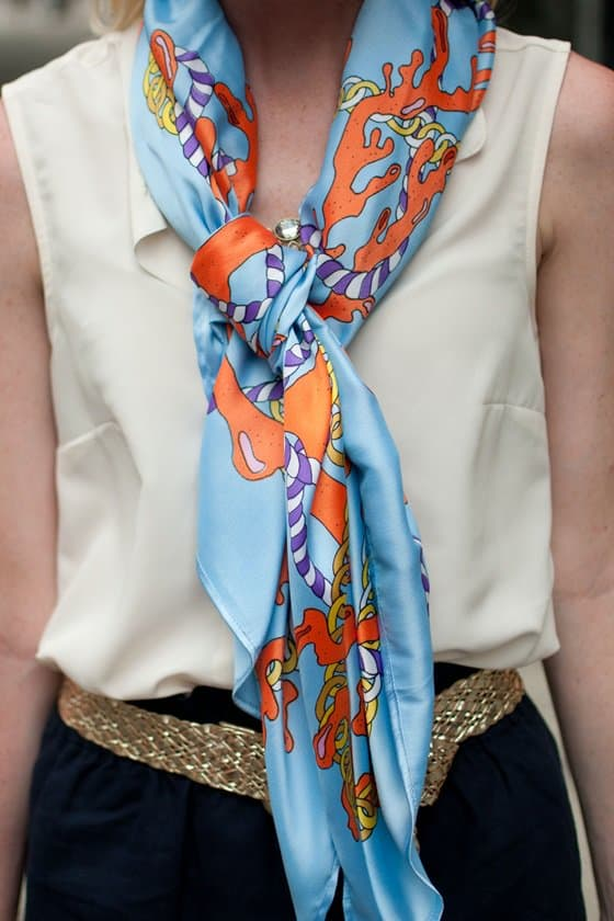Kelly brightens up a classic look with a colorful silk scarf from Julia of Lemon Stripes