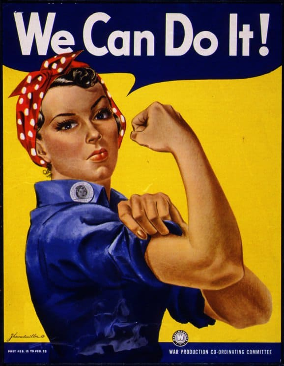 "We're going to kick things off with a scarf-do inspired by ""Rosie The Riveter"" — the rockabilly"