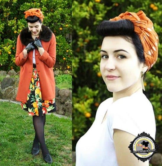 Retro fashion blogger Taygan wears a chic hair scarf