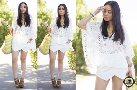 An shows how to wear a white crochet caftan in summer
