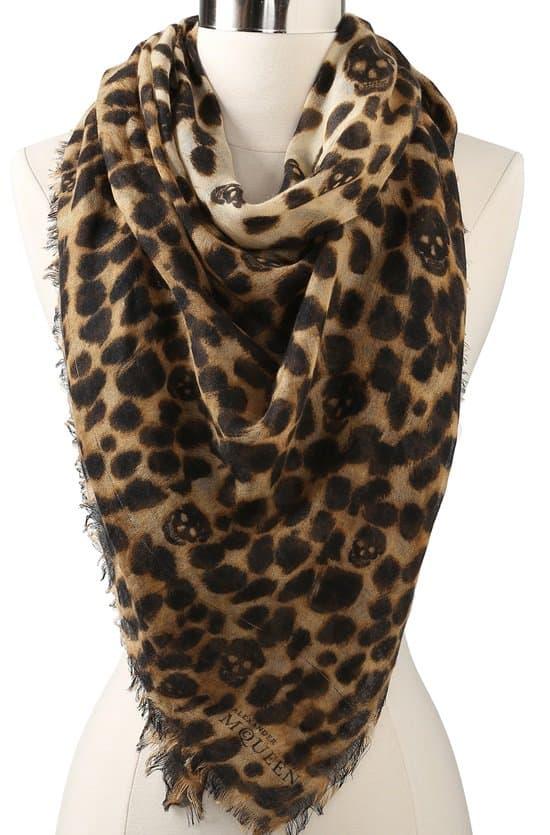 alexander mcqueen cashmere silk leopard amq scarf
