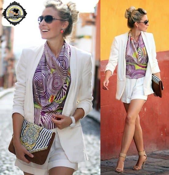 Amanda wears a scarf as a halter blouse