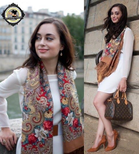 Cee rocks a fabulous Comtesse Sofia scarf
