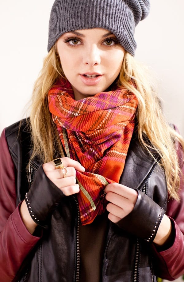 "Leather and plaid are among fall's top stories, so why not work the trend by mixing this ""Vintage Plaid"" Wrap from Echo with a beanie and a rockin' leather jacket?"