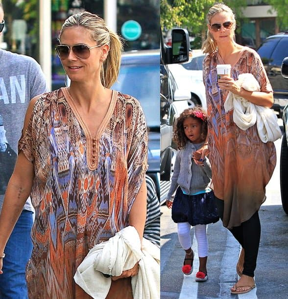 Heidi was in fact, spotted sporting a caftan while out and about with her kids (and bodyguard boyfriend) in Brentwood yesterday