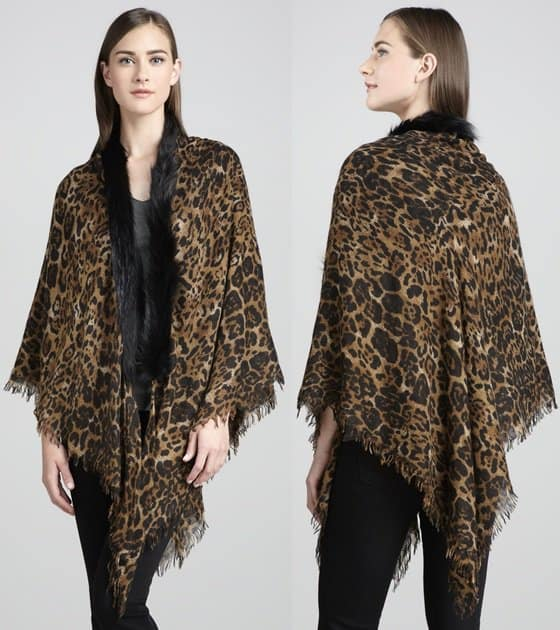 sofia cashmere fox fur trim shawl-horz