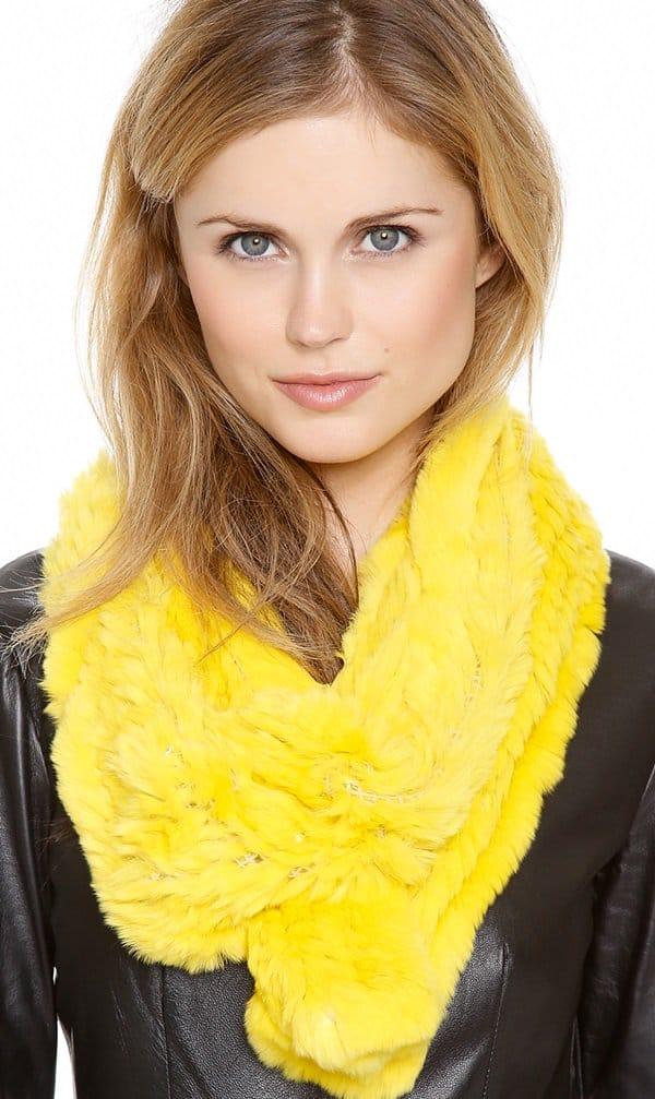 adrienna landau fur scarf long