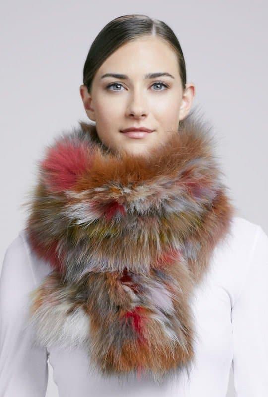 adrienna landau knit fox fur scarf
