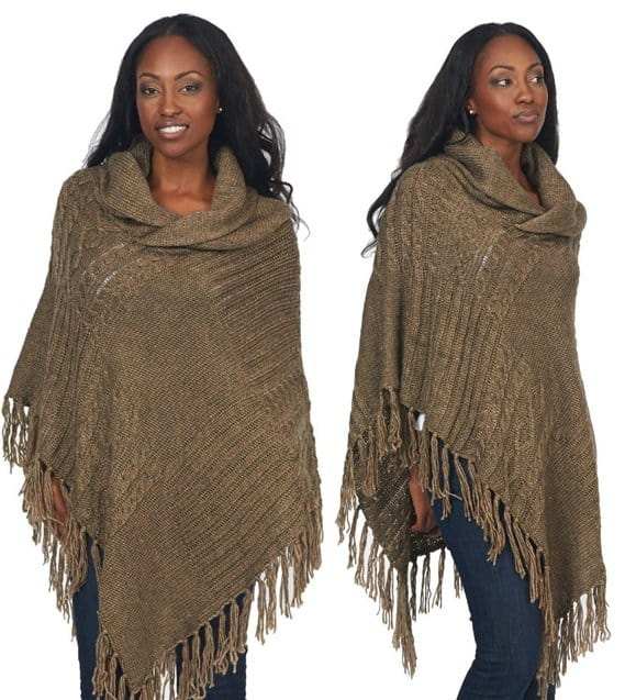 Design 26 Cable Knit Chain Link Ribbed Poncho