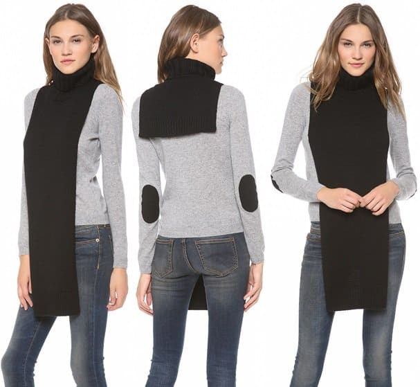 J Brand reimagines a knit scarf, crafting this dickey-inspired piece with a ribbed turtleneck for edgy, cool-weather layering options.